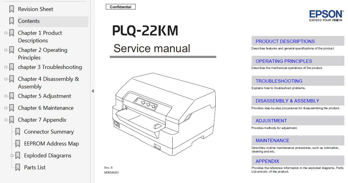Epson PLQ-22KM Printer Service Manual, Exploded Diagram and Parts List