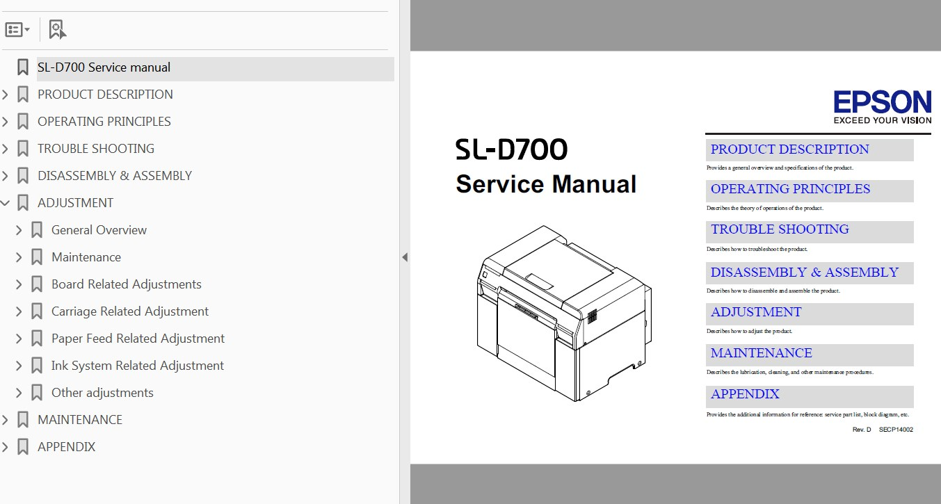 Epson <b>Sure Lab SL-D700 </b> printer Service Manual  <font color=red>New!</font>