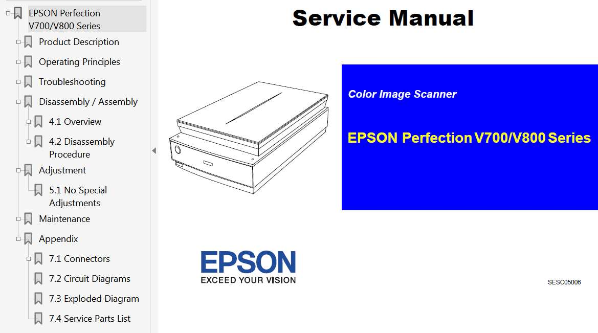 Epson Perfection V700 Series, V800 Series Scaner Service Manual, Exploded Diagram and Parts List