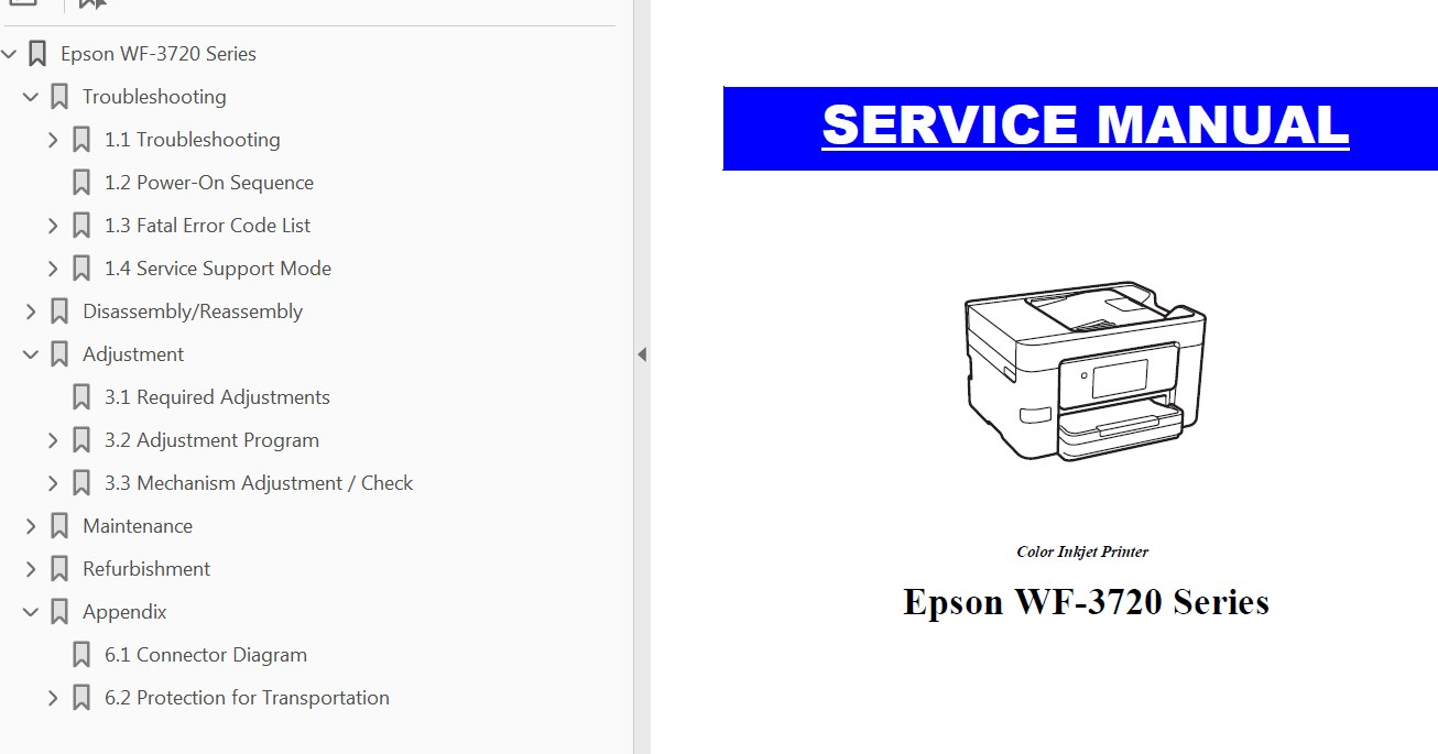 Epson <b>WF-3720 Series</b> printers Service Manual  <font color=red>New!</font>