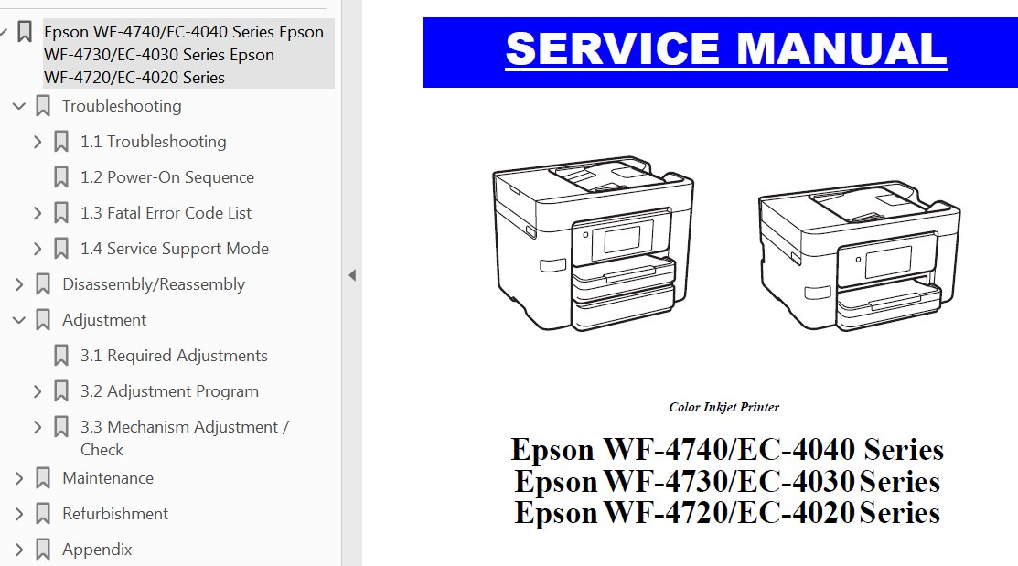 Epson <b>WF-4720 Series, WF-4730 Series,  WF-4740 Series, EC-4020, EC-4030, EC-4040</b> printers Service Manual  <font color=red>New!</font>