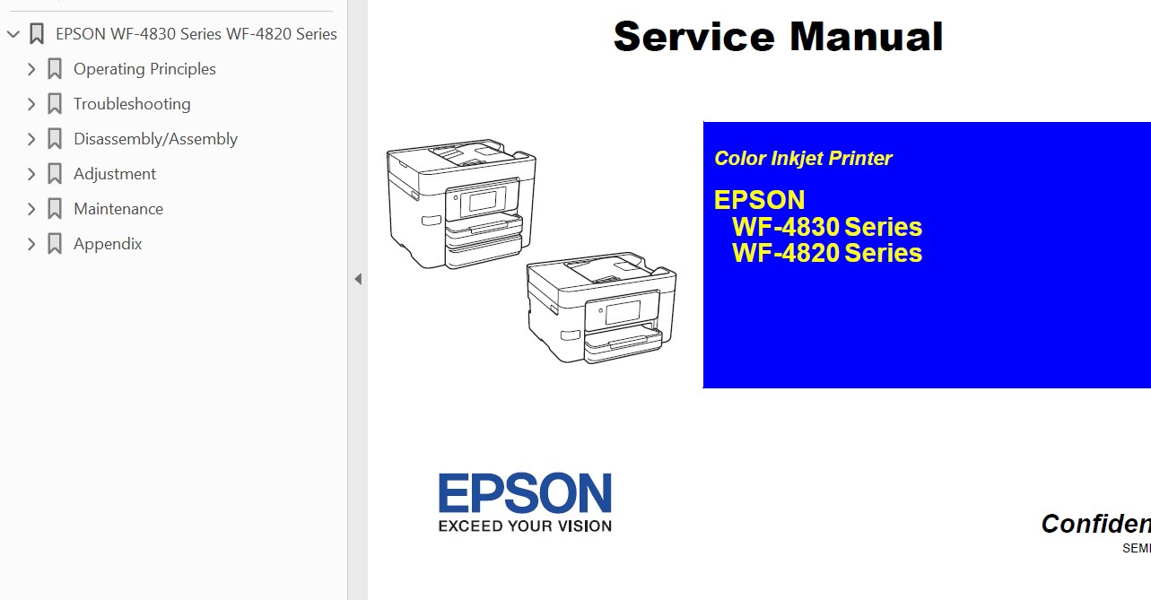 Epson <b> WF-4820 Series,  WF-4830 Series</b> printers Service Manual  <font color=orange>New!</font>