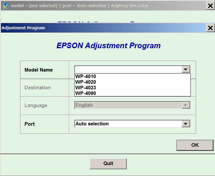 Epson <b>WorkForce WP-4010, WP-4020, WP-4023, WP-4090</b> (EAI) Ver.1.0.0 Service Adjustment Program  <font color=red>New!</font>