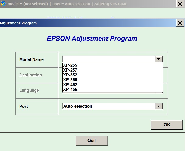 Epson <b> XP-255, XP-257, XP-352, XP-355, XP-452, XP-455  </b> (EURO) Ver.1.0.0 Service Adjustment Program  <font color=red>New!</font>