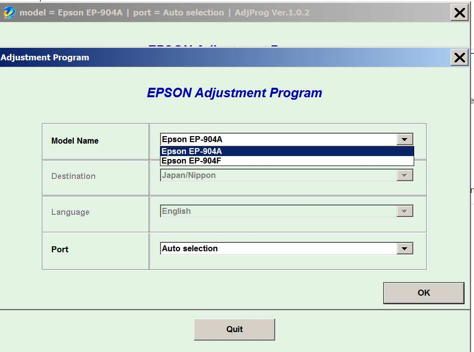 Epson <b>EP-904A, EP-904F </b> (Japan/Nippon) Ver.1.0.2 Service Adjustment Program  <font color=red>New!</font>