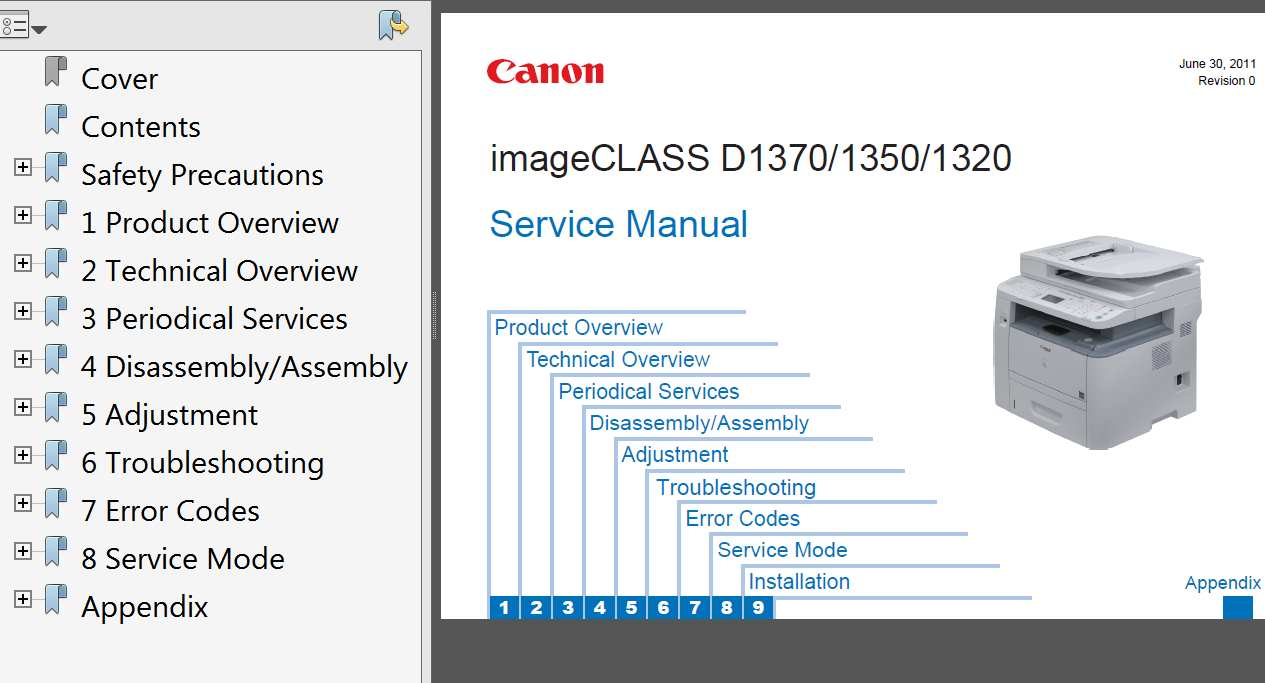 CANON imageCLASS D1320, D1350, D1370 Service Manual, Service Guide and Parts  Catalog