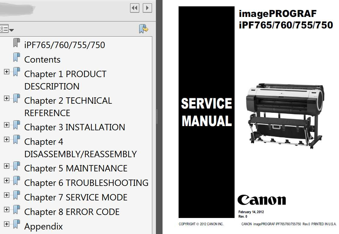 CANON imagePROGRAF iPF750, iPF755, iPF760, iPF765 Service Manual, Parts  Catalog and Cirquit