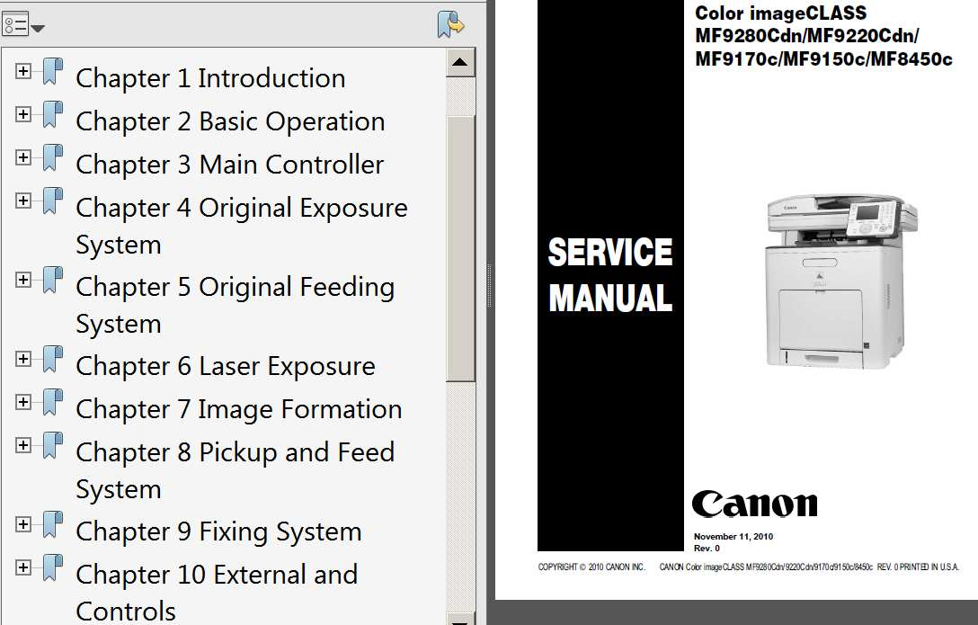 CANON Color imageCLASS MF8450c, MF9150c, MF9170c, MF9220Cdn, MF9280Cdn Service Manual, Parts List and Cirquit Diagram