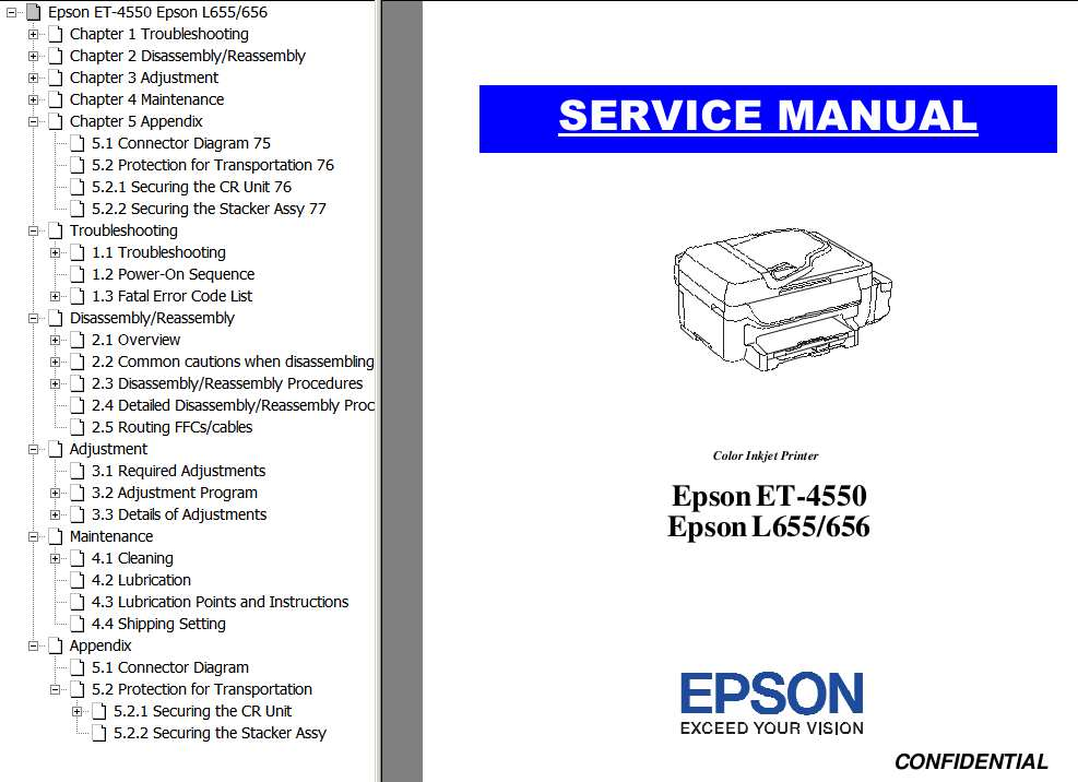 Epson <b>ET-4550, L655, L656</b> printers Service Manual and Connector Diagram  <font color=red>New!</font>