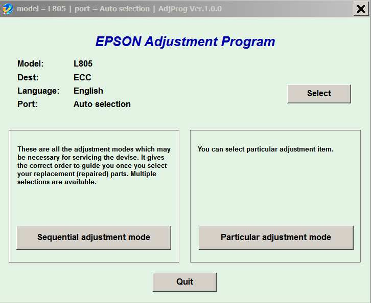 Epson <b>L805 </b> (ECC) Ver.1.0.0 Service Adjustment Program  <font color=red>New!</font>
