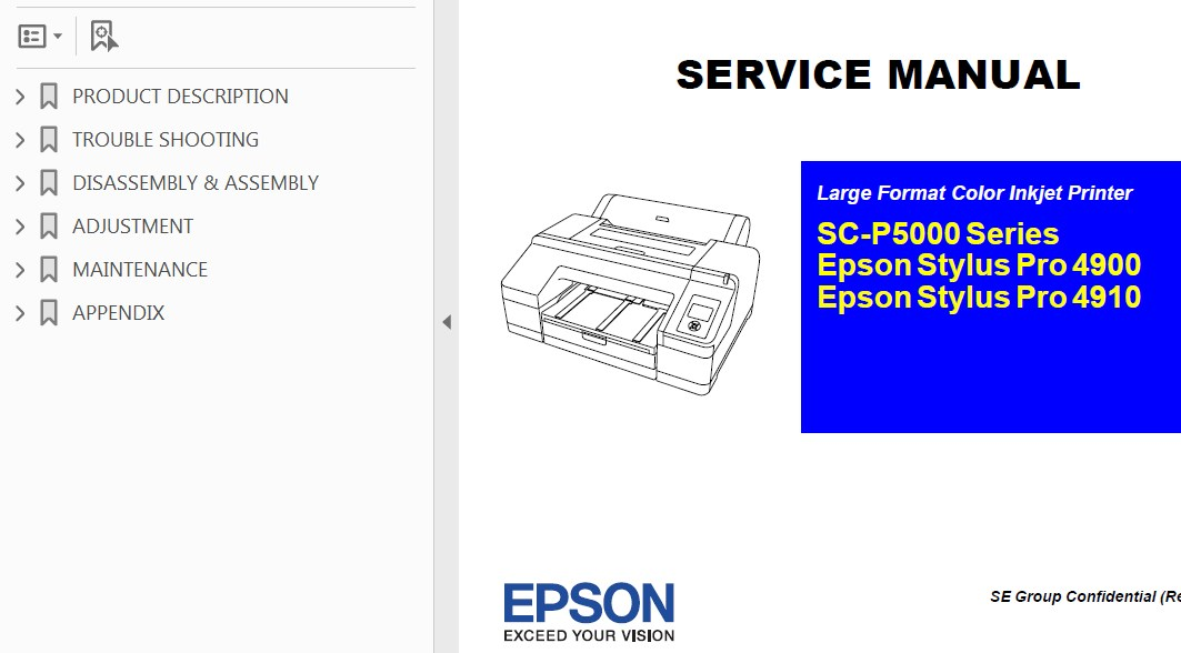 Epson <b>SC-P5000 Series, Pro 4900, Pro 4910</b> printers Service Manual, Exploded View, Parts List and Block Wiring Diagram <font color=red>New!</font>