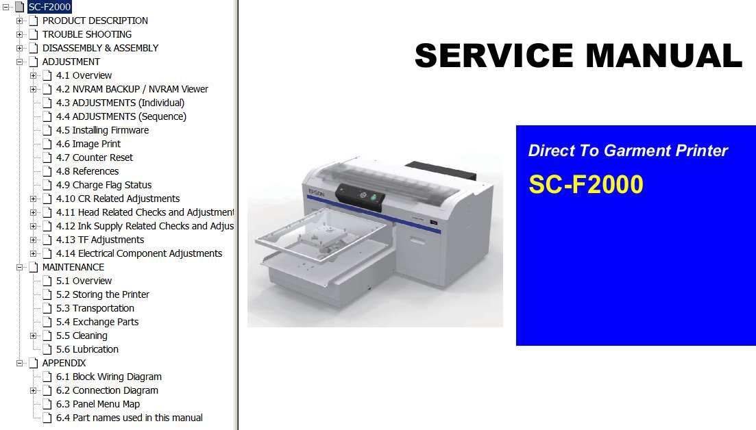 Epson <b>SC-F2000</b> direct to garment printer Service Manual and Connector Diagram  <font color=red>New!</font>