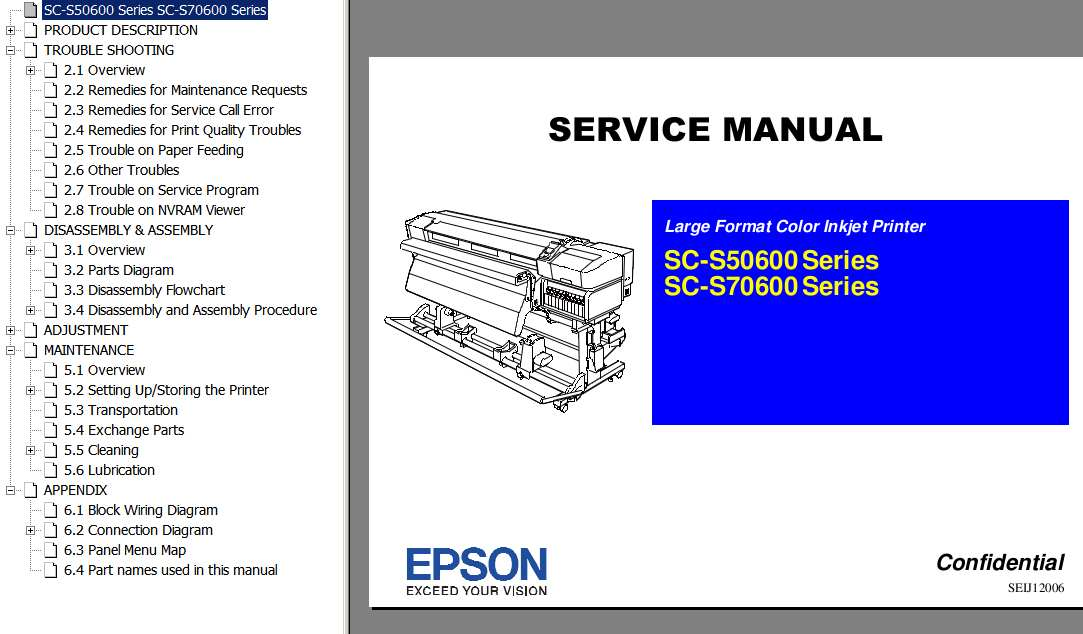 <b>SC-S50600, SC-S70600  Series </b> Large Format Color Inkjet Printer  Service Manual  <font color=red>New!</font>