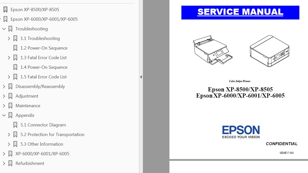 This Epson XP-6000, XP-6001, XP-6005, XP-8500, XP-8505 Service Manual  describes basic functions, theory of electrical and mechanical operations,  ...