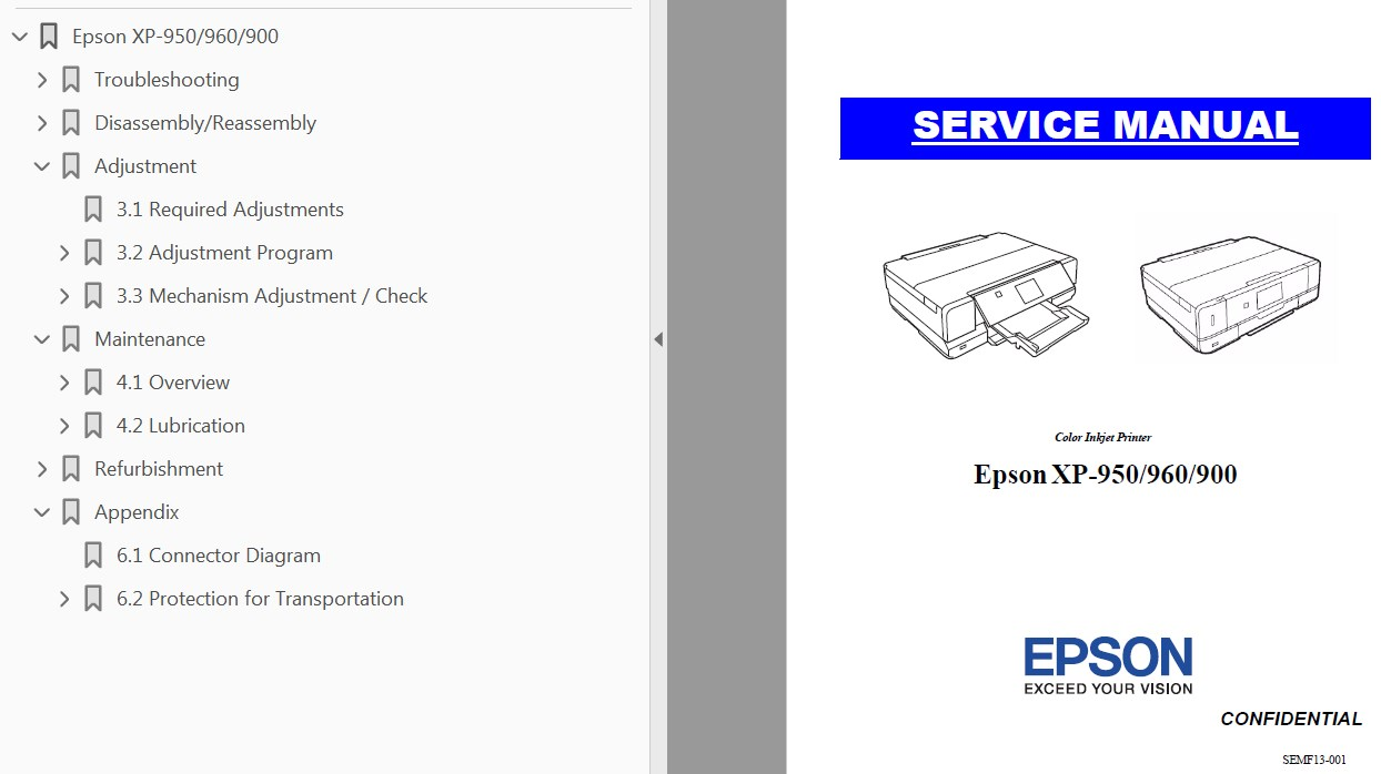 ... printers Service Manual New! $19.99. Epson <b>XP-900, XP-950, XP-960<