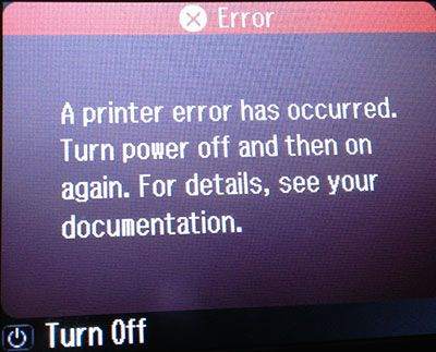 A printer error has occured  Turn power off then on again