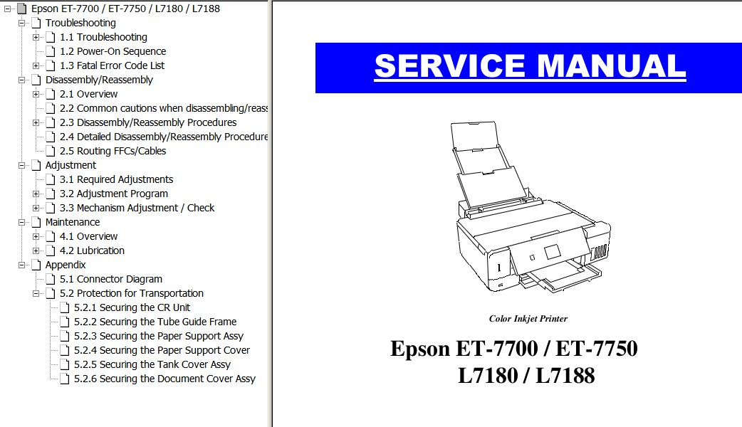 Epson <b> ET-7700, ET-7750, L7180, L7188 Series</b> printers Service Manual  <font color=orange>New!</font>
