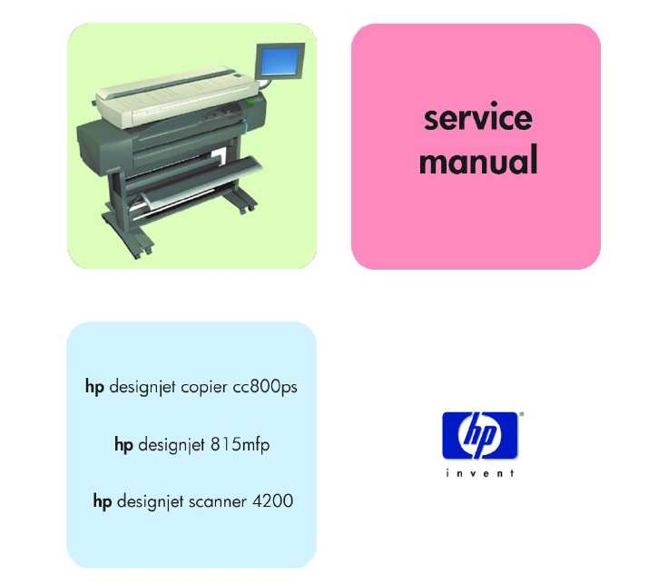 HP DesignJet Copier cc800ps, 815mfp, scanner 4200  Service Manual, Parts and Diagrams