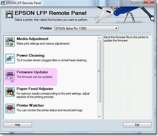 How to update the firmware of the Epson printer?