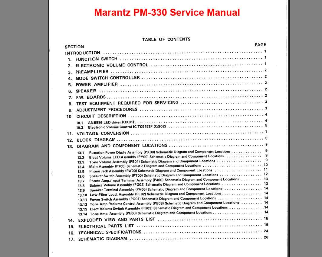 Marantz PM-330 Stereo Pre Main Amplifier  Service Manual, Exploded View, Mechanical and Electrical Parts List, Schematic Diagram, Cirquit Board