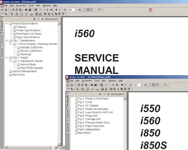CANON i560 printer<br> Service Manual and Parts Catalog