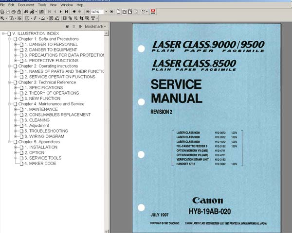Canon  Laser  Class  8500, 9500 <br> Service  Manuall