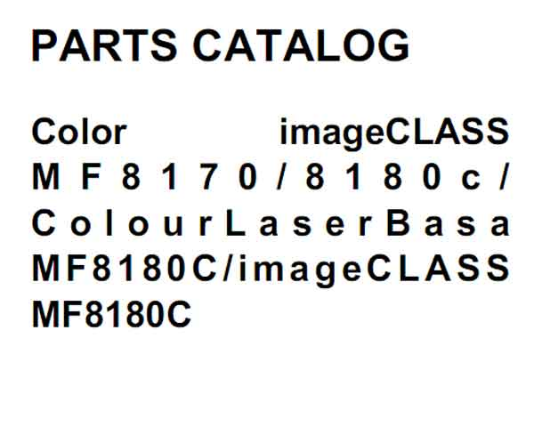 CANON MF8170, MF8180 Parts Catalog