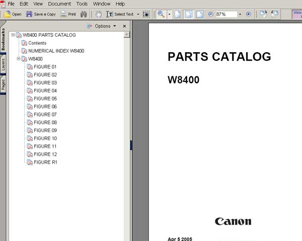 CANON BJ-W8400 wide format printer Parts Catalog