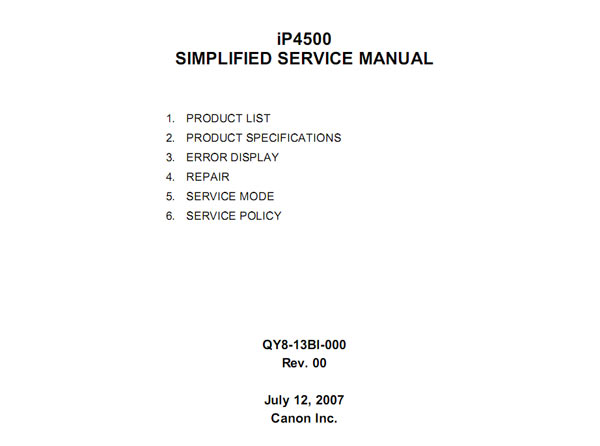 CANON iP4500 printer Simplified Service Manual and Technical Reference
