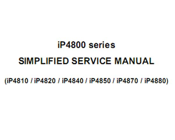 CANON iP4810, iP4820, iP4840, iP4850, iP4870, iP4880 printers Simplified Service Manual and Parts List included