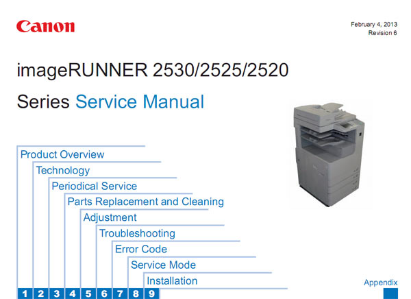 CANON iR2520, iR2525, iR2530 Service Manual and Parts Lists