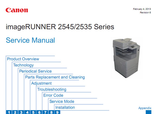 CANON iR2535, iR2545  Service Manual and Parts Lists