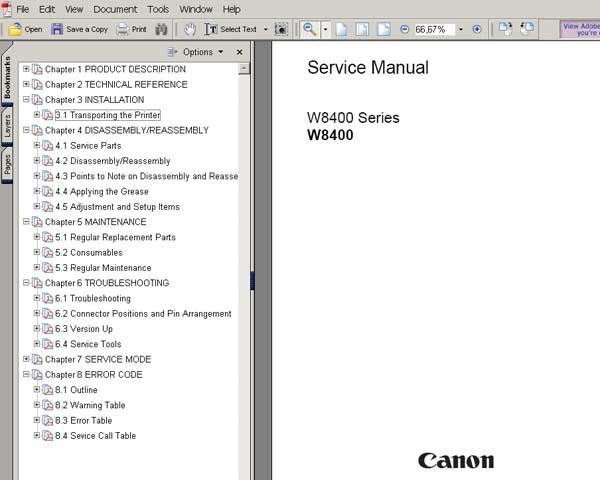 CANON BJ-W8400 wide format printer Service Manual