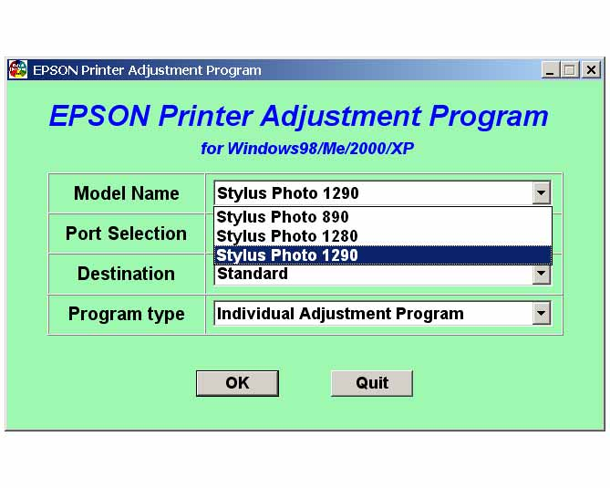 Stylus Photo 890, 1280, 1290 Printers Service Adjustment Program