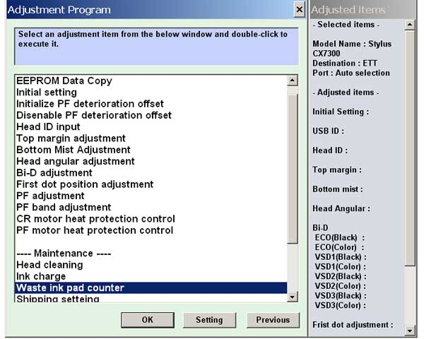 Epson CX7300 Service Adjustment Program