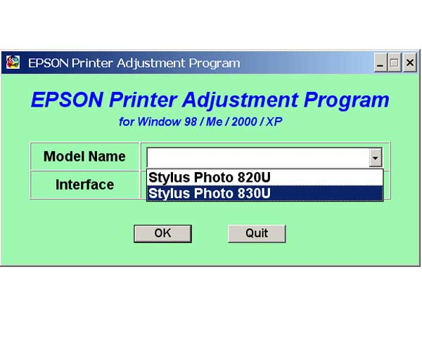 Epson Stylus Photo <b>820U, 830U</b> Printers Service Program