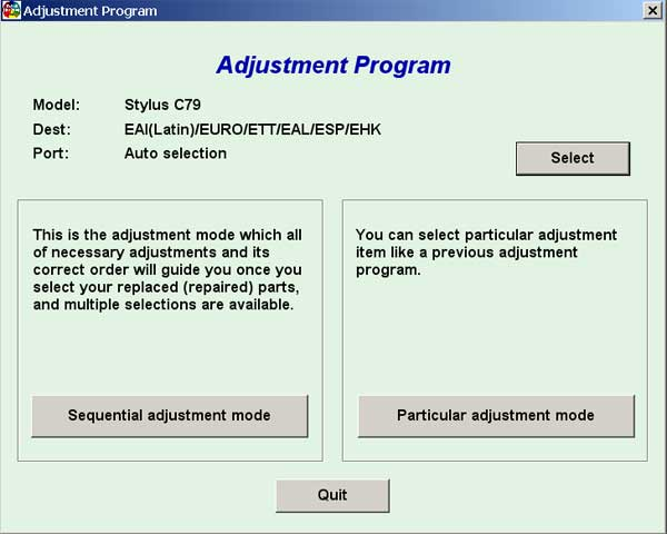 Epson C79 Service Adjustment Program