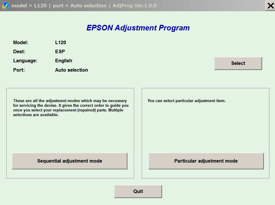 Epson <b>L120 </b> (ESP) Ver.1.0.0 Service Program  <font color=red>New!</font>