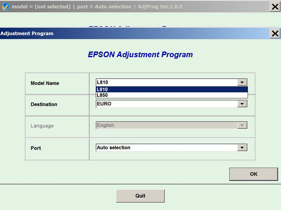 Epson <b>L810, L850 </b> (EURO, CIS) Ver.1.0.0 Service Adjustment Program  <font color=red>New!</font>