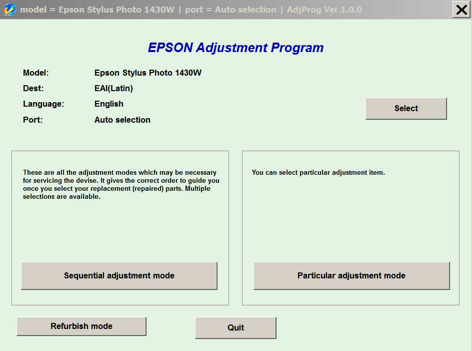 Epson <b>Photo 1430W </b> (EAI) Ver.1.0.0 Service Adjustment Program  <font color=red>New!</font>