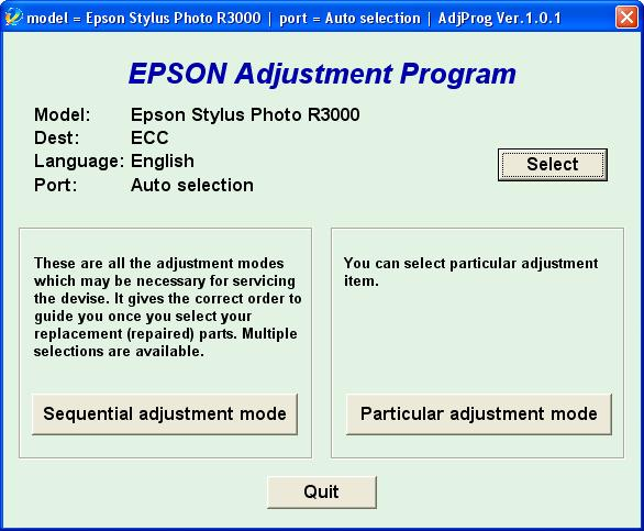 Epson <b>R3000</b> (ECC) Ver.1.0.1 Adjustment Service  Program