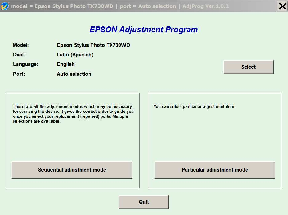 Epson <b>TX730WD </b> Ver.1.0.2 Service Adjustment Program  <font color=red>New!</font>