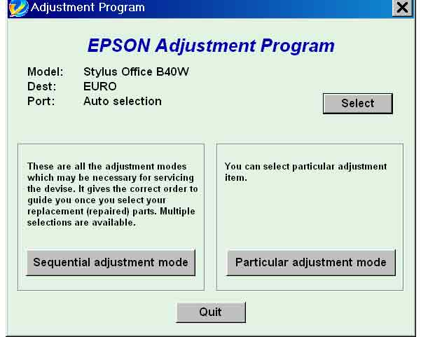 EPSON Stylus Office <b>B40W</b> Service Adjustment Program <font color=red>New!</font>