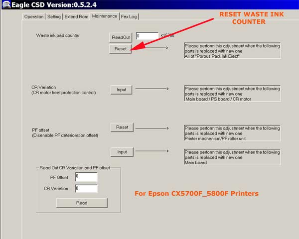EPSON CX5700F, CX5800F Service Adjustment Program <font color=red>New!</font>