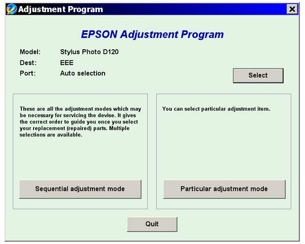 Epson <b>D120</b> Service Adjustment Program