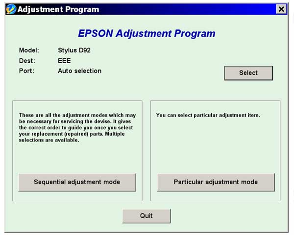 Epson <b>D92</b> Service Adjustment Program