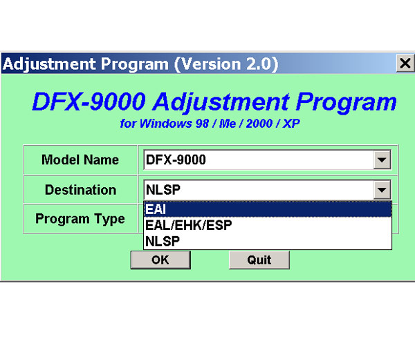 Epson DFX-9000 Printer Adjustment Program V 2.0