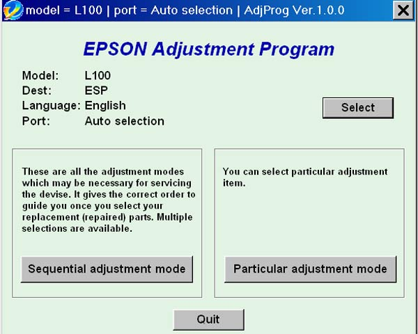 Epson <b>L100</b> (ESP) Ver.1.0.0 Service Adjustment Program  <font color=red>New!</font>