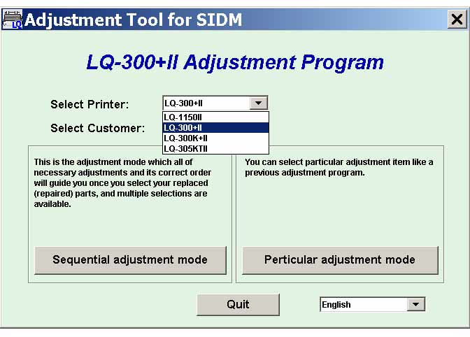 LQ-300+II, LQ-300K+II, LQ-305KTII, LQ-1150II  Adjustment Tool for SIDM, v.2.10