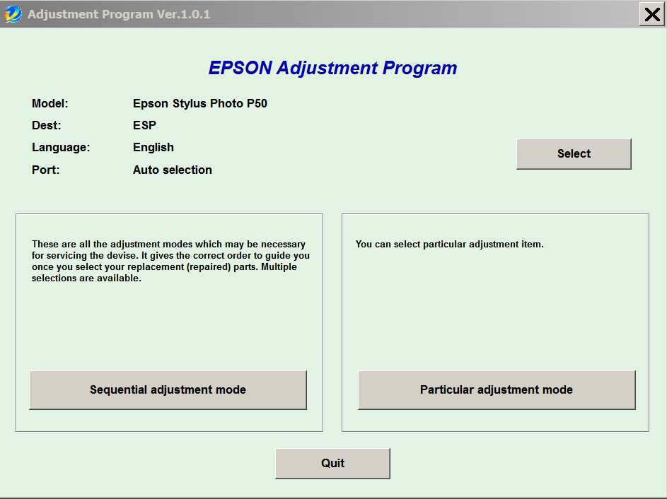 Epson <b>P50</b> Service Adjustment Program  <font color=red>New!</font>